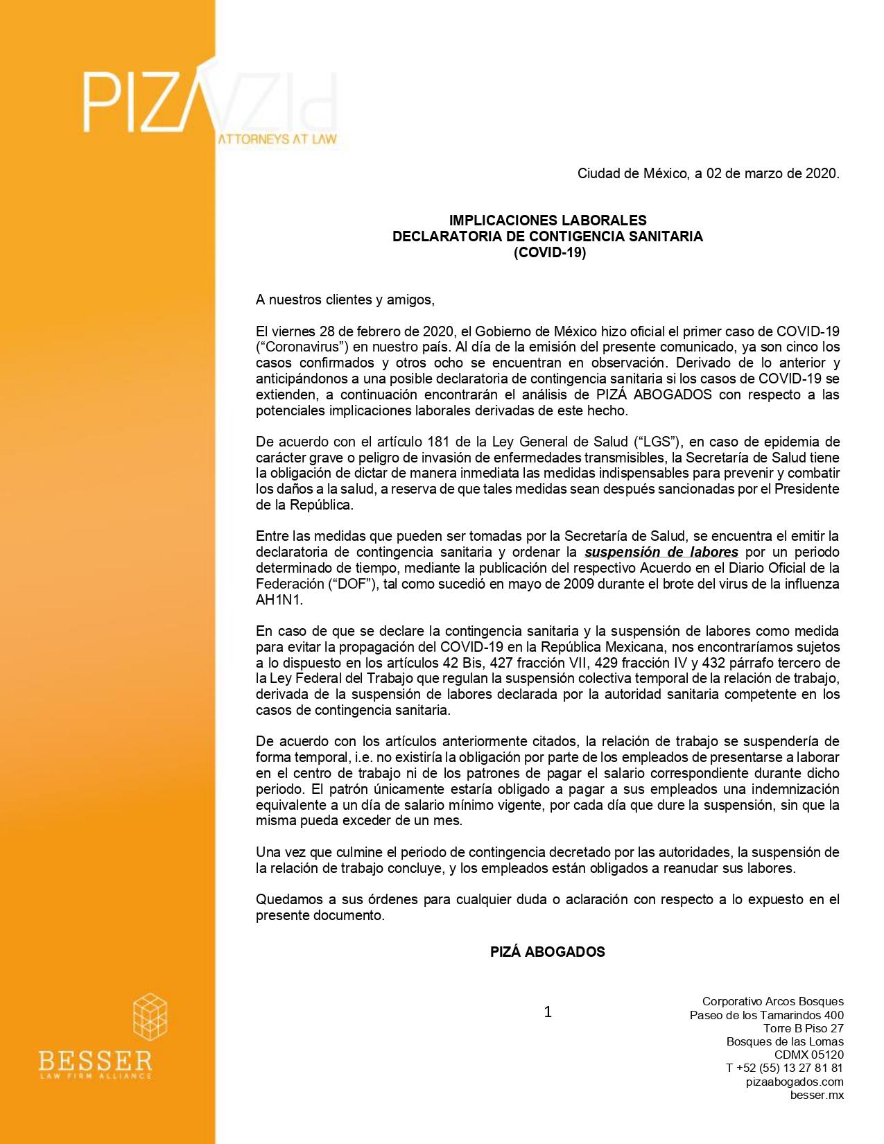 Implicaciones Laborales Declaratoria de Contingencia Sanitaria (Covid-19)