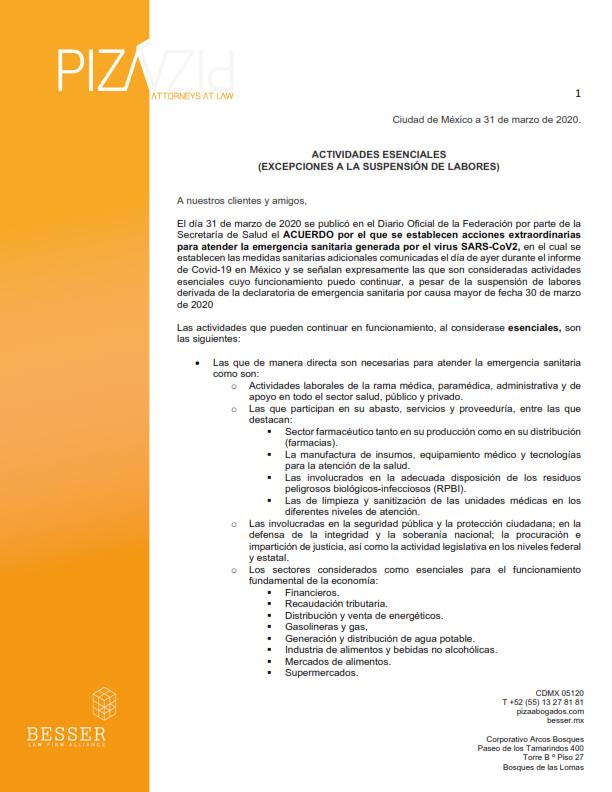 Actividades Esenciales (Excepciones a la Suspensión de Labores)