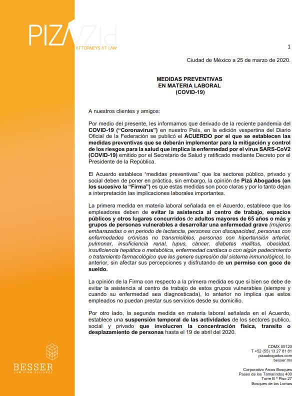Medidas Preventivas en Materia Laboral (COVID-19)
