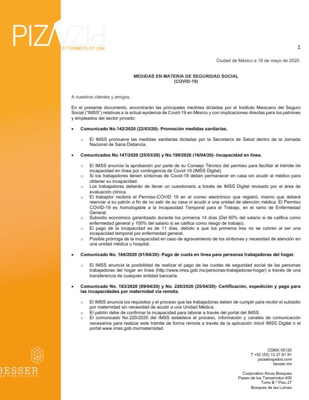 Medidas en materia de Seguridad Social (COVID-19) / 18 de mayo de 2020