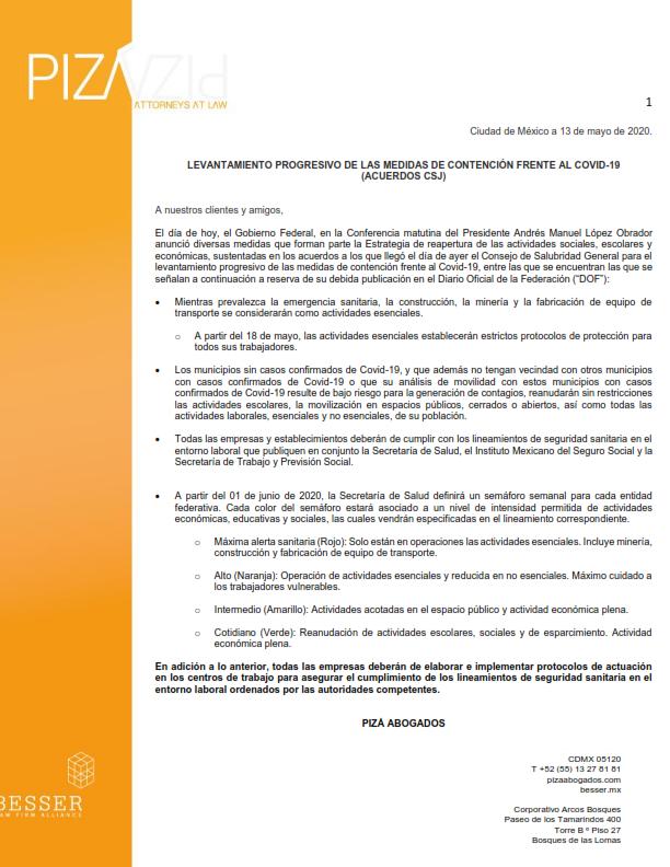 Levantamiento progresivo de las medidas de contención frente al COVID-19 (acuerdos CSJ) / 13 de mayo de 2020