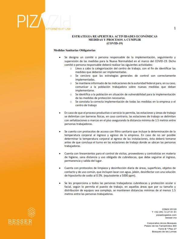Estrategia reapertura actividades económicas medidas y procesos a cumplir (COVID-19)