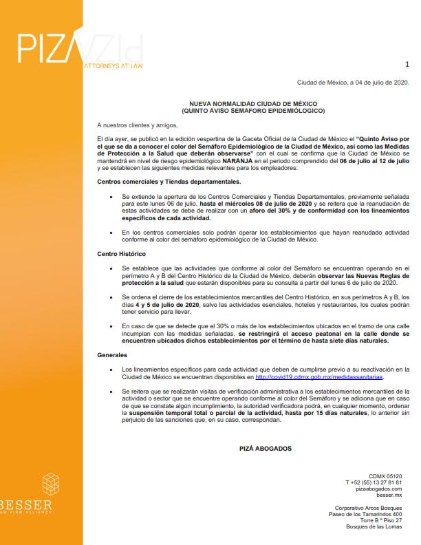 Quinto aviso semáforo epidemiológico en la CDMX