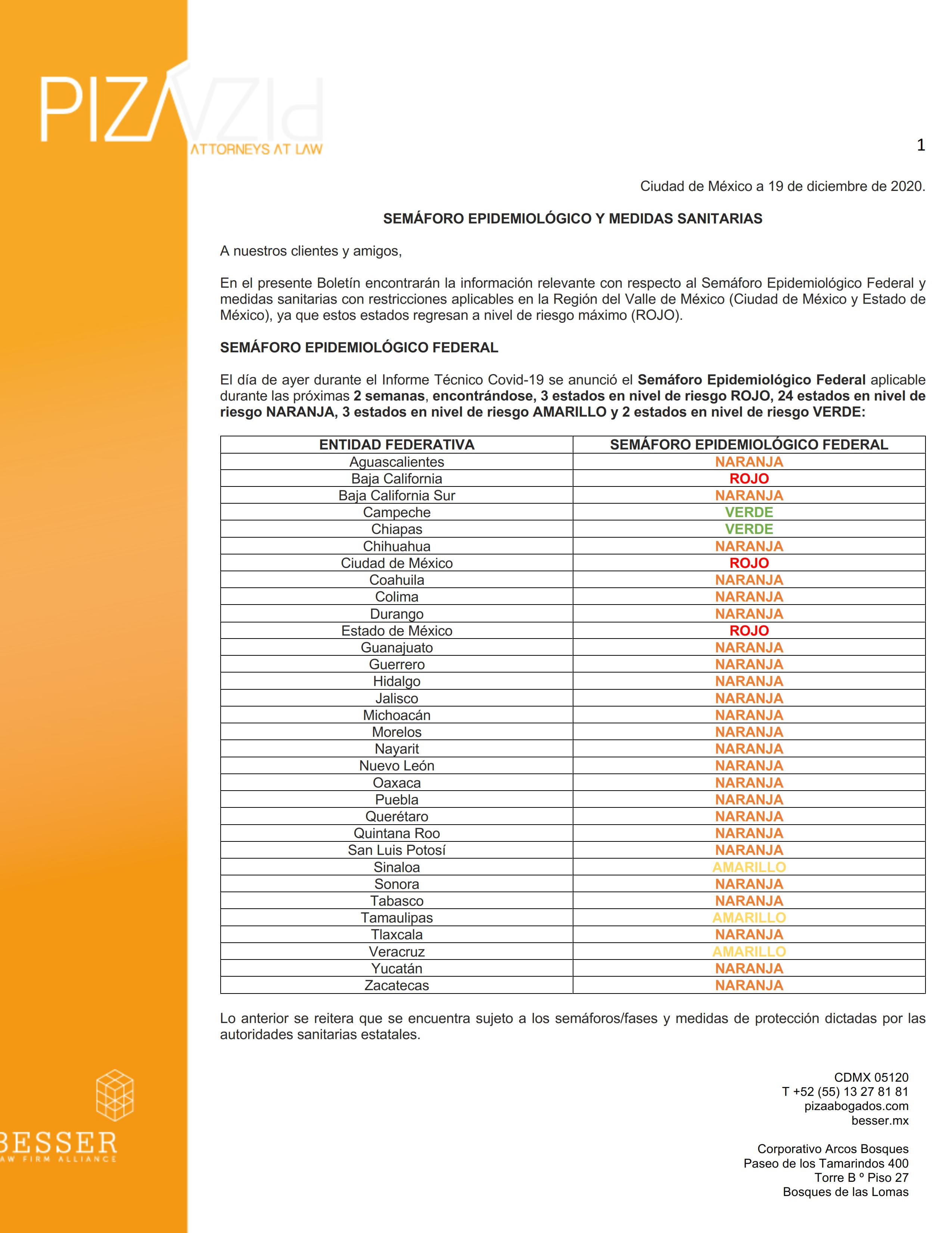 Semáforo Epidemiológico - Nivel Federal y Valle de México (19 diciembre de 2020)
